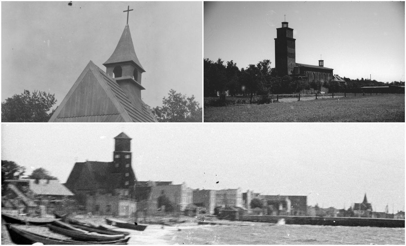 Historia Helu. Cmentarz rybacki, kościół pw. św. Piotra i Pawła i jego wnętrze na archiwalnych ZDJĘCIACH