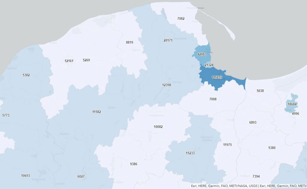 Powiat pucki szczepienia koronawiru, mapa