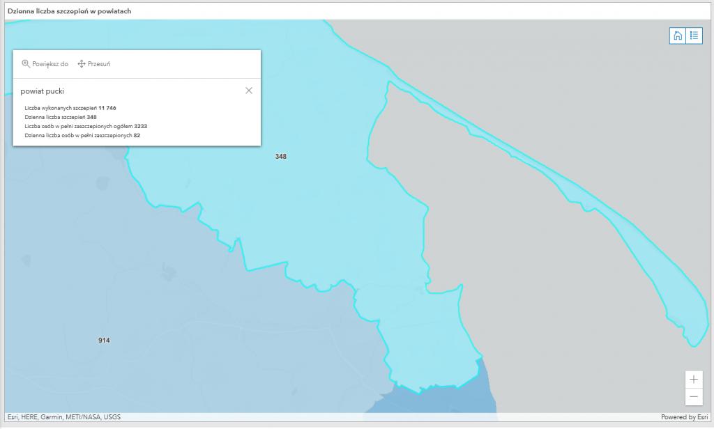 Powiat pucki: szczepienia, koronawirus mapa