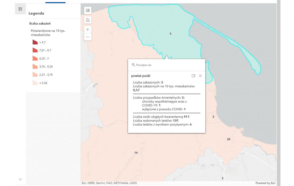 Powiat pucki: szczepienia, raport koronawirus mapa