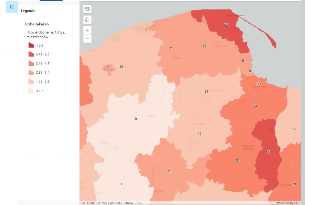 Powiat pucki szczepienia koronawirus mapa