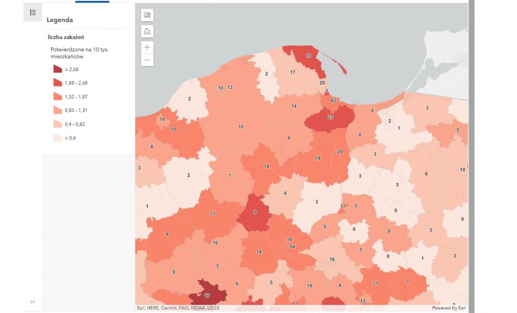 Powiat pucki szczepienia, koronawirus mapa