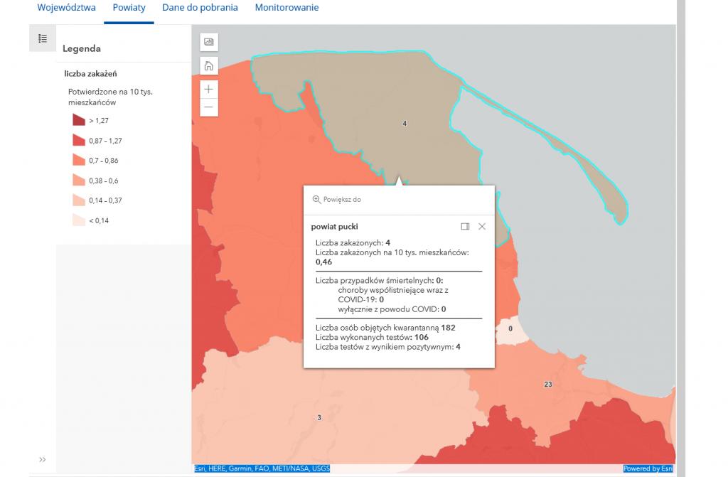 Powiat pucki szczepienia raport koronawirus mapa