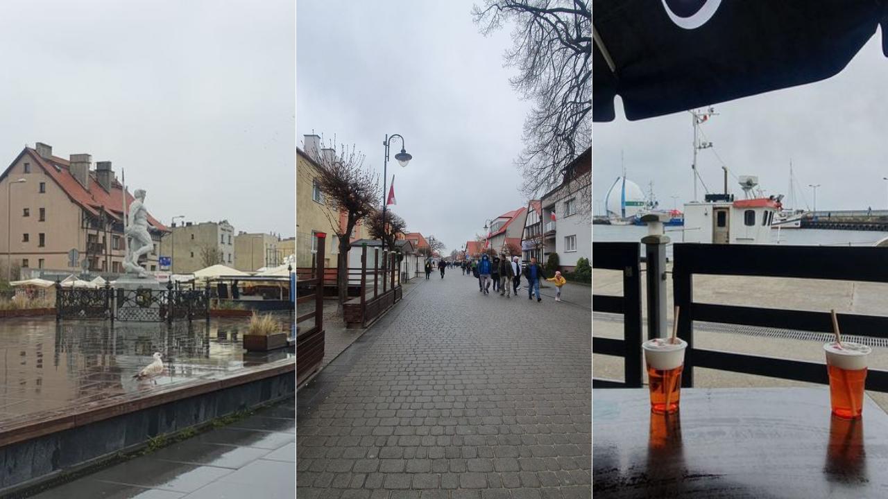 Majówka w Helu (2021). Niedziela w deszczu. Pusty Bulwar Nadmorski, turyści na ul. Wiejskiej | ZDJĘCIA