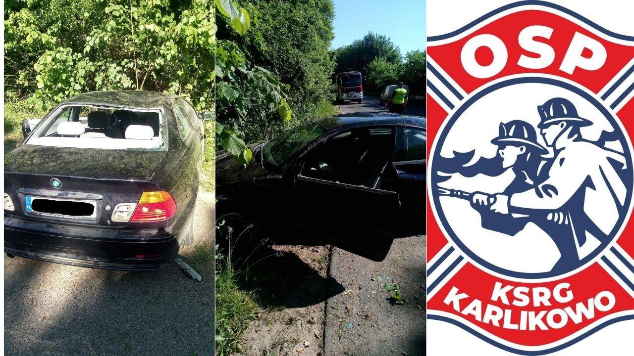 Dachowanie na trasie Lisewo – Karlikowo (DW 218). Kobieta w BMW fiknęła koziołka | ZDJĘCIA